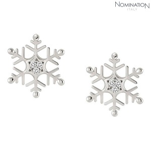 노미네이션 귀걸이 WINTERLAND (윈터랜드) Earrings 925 silver and CZ Lobo Snowflake 147205/010