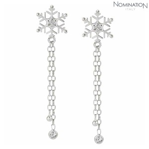 노미네이션 귀걸이 WINTERLAND (윈터랜드) Earrings 925 silver and CZ Long Snowflake 147206/010
