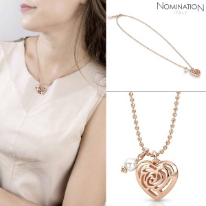노미네이션 목걸이 ROSEBLUSH (로즈블러쉬) necklace in copper and brass with pearls (Small) (Rose Gold) 131402/011