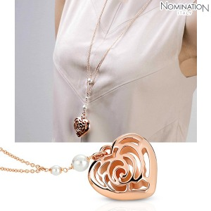 노미네이션 목걸이 ROSEBLUSH (로즈블러쉬) necklace in copper and brass with pearls (Long Double) (Rose Gold) 131405/011