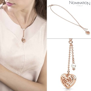 노미네이션 목걸이 ROSEBLUSH (로즈블러쉬) necklace in copper and brass with pearls (Double Pendant) 131403/011