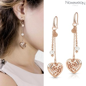 노미네이션 귀걸이 ROSEBLUSH (로즈블러쉬) earrings in copper and brass (Long Fish Hook) (Rose Gold) 131408/011