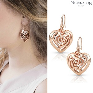 노미네이션 귀걸이 ROSEBLUSH (로즈블러쉬) earrings in copper and brass (Big Fish Hook) (Rose Gold) 131407/011