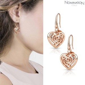 노미네이션 귀걸이 ROSEBLUSH (로즈블러쉬) earrings in copper and brass (Small Fish Hook) (Rose Gold) 131406/011