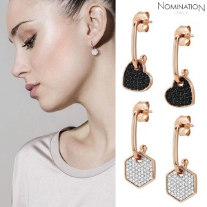노미네이션 귀걸이 EMOZIONI (에모지오니) Earring sterling silver with cubic zirconia and 22K rose gold plated finish Small 147804(택1)