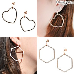 노미네이션 귀걸이 EMOZIONI (에모지오니) Earring sterling silver with cubic zirconia and 22K rose gold plated finish Large 147805(택1)