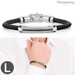 노미네이션 팔찌 GENTLEMAN (젠틀맨) Bracelet Stainless steel, leather with black spinel stone pave and 8 diamonds (Large) 132901/001