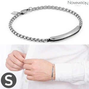 노미네이션 팔찌 GENTLEMAN (젠틀맨) Bracelet Stainless steel with black spinel stone pave (Small) 132902/001