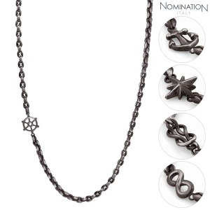 목걸이 ATLANTE (아틀란테) necklace in stainless steel and black PVD Vintage effect finish 027503(택1)