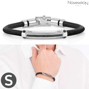 노미네이션 팔찌 GENTLEMAN (젠틀맨) Bracelet Stainless steel, leather with black spinel stone pave and 8 diamonds (Small) 132900/001
